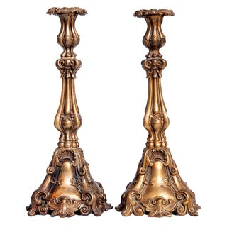 1970s Italian Bronze Candlesticks - a Pair For Sale