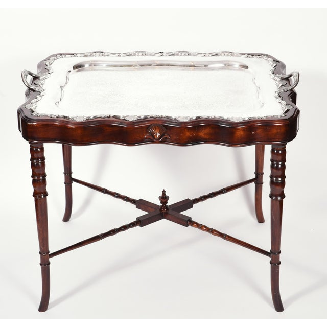 Vintage Mahogany Base Frame Silver Plate Tray Table For Sale - Image 12 of 13
