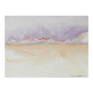 """Hills of the Black Rock Desert"", Gouache Landscape in Pastel Hues, 2017"