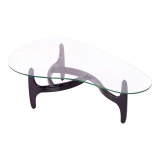 1960s Mid-Century Modern Kroehler Ebonized Biomorphic Kidney Coffee Table For Sale