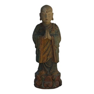 Chinese Rustic Wood Standing Lohon Monk Statue For Sale