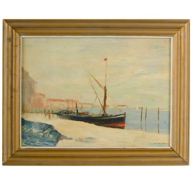 Early 20th Century Harbor Scene Oil Painting by William Fraser, Framed For Sale - Image 10 of 10
