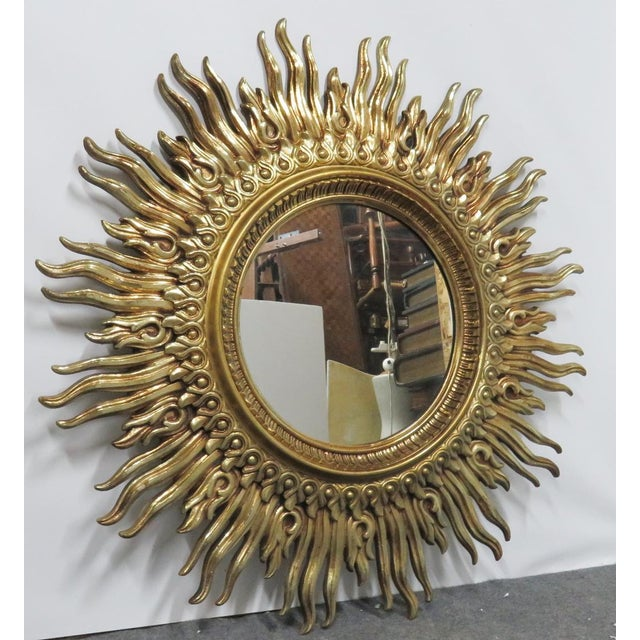 Hollywood Regency Vintage Mid Century Syroco Sunburt Mirror For Sale - Image 3 of 5