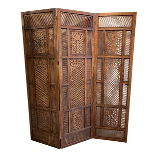 Handcarved Wood Screen For Sale