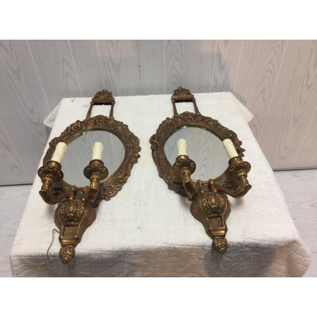 French Brass & Mirrored Sconces - A Pair - Image 4 of 4