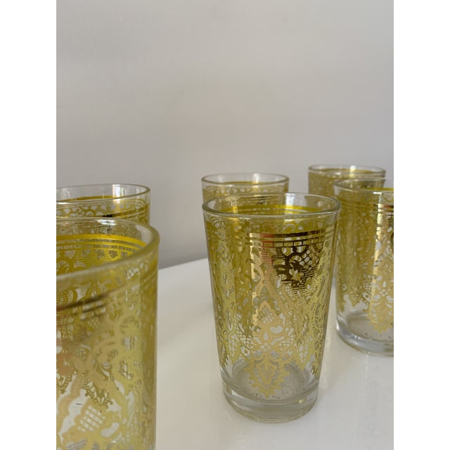 Moroccan Vintage Moroccan Gold Glasses-Set of 6 For Sale - Image 3 of 6