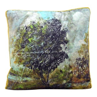 """Pastoral"" Landscape Gallery Pillow With Chartreuse Silk Velvet Trim For Sale"