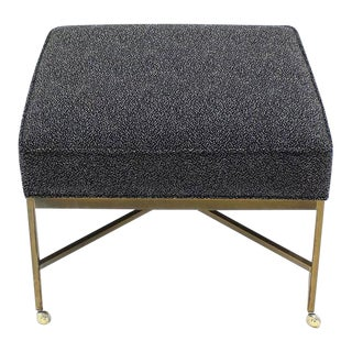 Vintage Mid Century Solid Brass X Based Ottoman For Sale