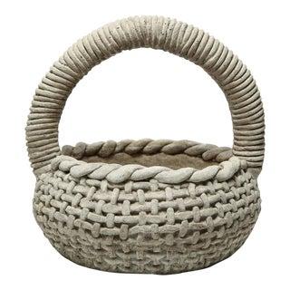 1960s Boho Chic Cast Stone Trompe L'Oeil Basketweave Planter