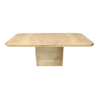 Rectangular Single Marble Pedestal and Top Dining Conference Table Beige For Sale