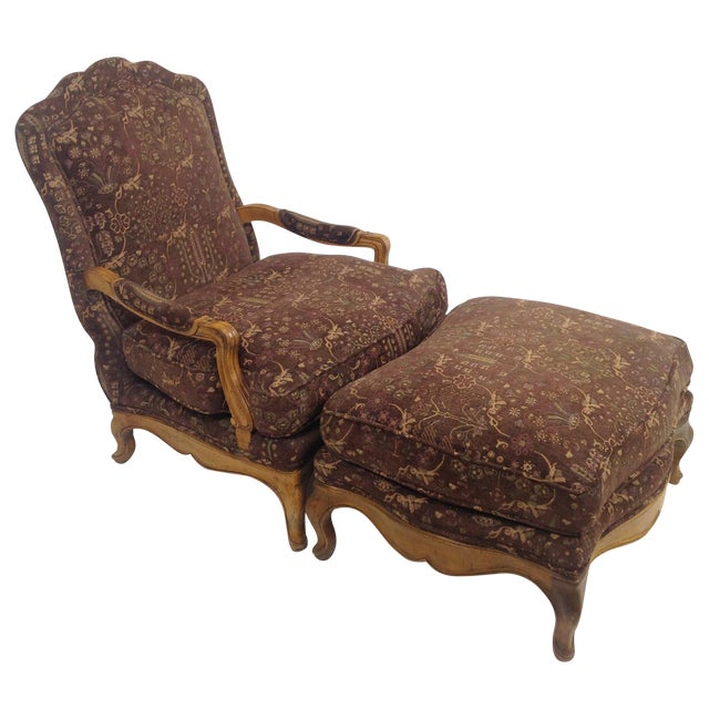 Baker Country French Lounge Chair & Ottoman - Image 1 of 8