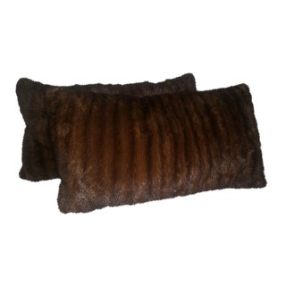 Contemporary Dark Brown Mink Pillows - a Pair For Sale