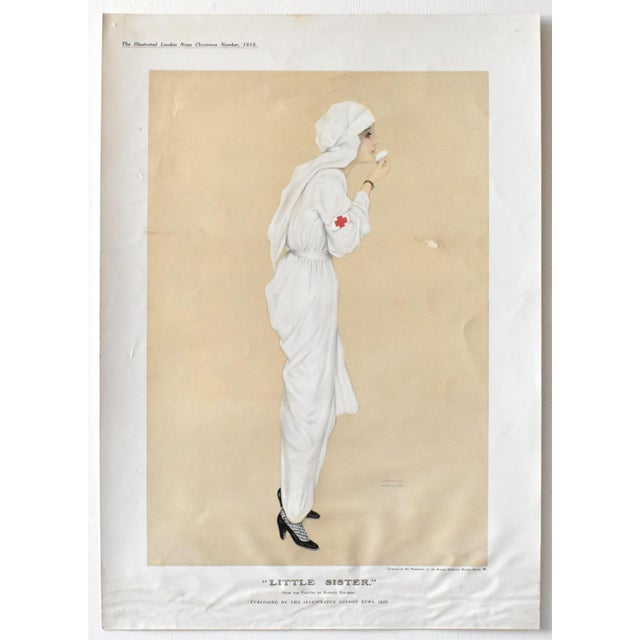 "Paper Vintage Poster Print of ""Little Sister"" Wwi Nurse 1915 by Raphael Kirchner For Sale - Image 7 of 7"