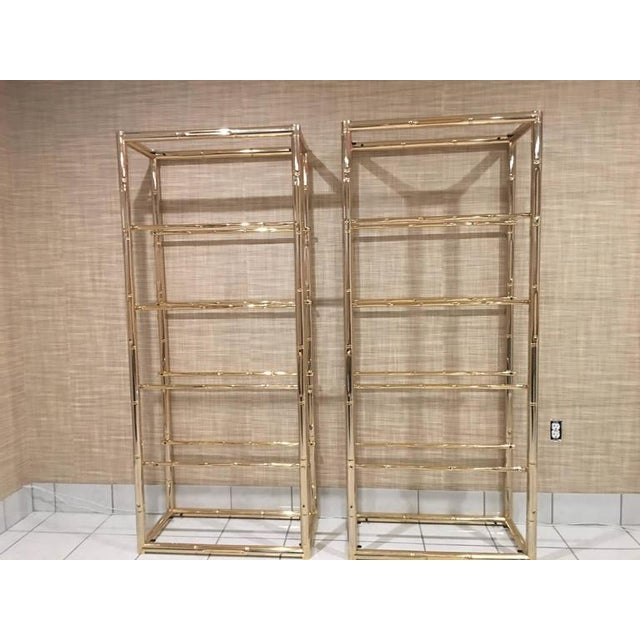 Gold Faux Bamboo Brass Etagere Display Shelves - A Pair For Sale - Image 8 of 12