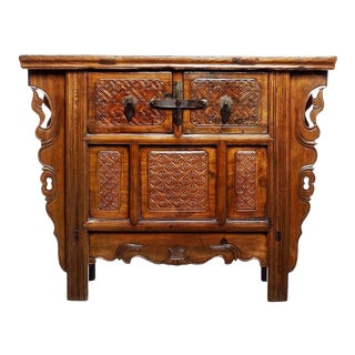 Antique Intricately Chinese Carved Altar Coffer with Two Drawers over Doors For Sale