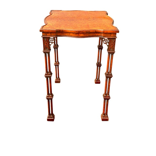 Chinese George III Style Burl Walnut and Mahogany China Table Attributed to Gillow For Sale - Image 3 of 11