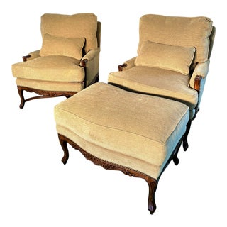 Edward Ferrell + Lewis Mittman French Provincial Upholstered Bergere Chairs With Ottoman - 3 Pieces For Sale