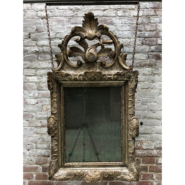 Louis XIV Rare 18th Century Silver Leaf Gilded Louis XIV Mirror For Sale - Image 3 of 11