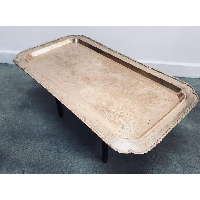 Mid-Century Rectangular Brass Tray Top Coffee Table For Sale - Image 11 of 11