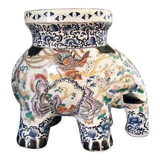 Vintage Chinoiserie Porcelain Elephant Garden Stool For Sale