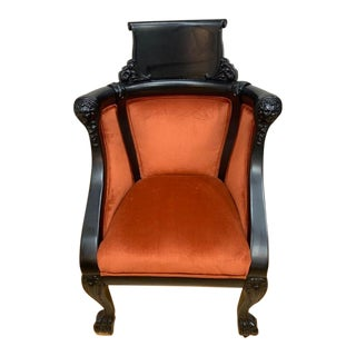1920s Victorian Figural Hand Carved Lions Head and Paw Foot Ebonized Tub Chair For Sale