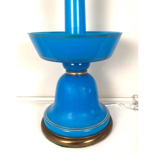 French Blue Opaline Glass Table Lamp For Sale In Boston - Image 6 of 9