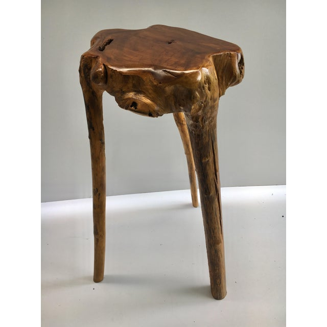 Contemporary Organic Modern Tree Root Wood Pedestal Table For Sale - Image 3 of 8