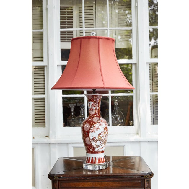 Brass Vintage Japanese Imari Lamp in Red and Gold For Sale - Image 7 of 11
