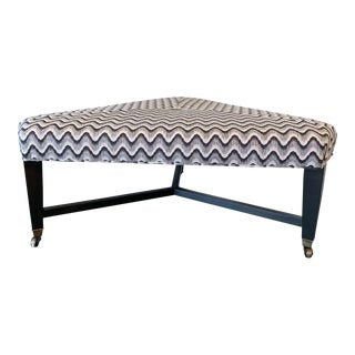 Lee Industries Bench With Schumacher Fabric For Sale