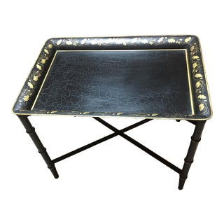 Folding Tole Tray Table For Sale