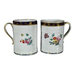 Derby Porcelain Botanical Tankards Painted by Edward Wither