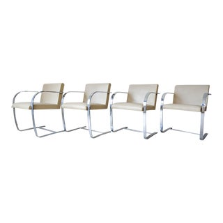 Mies Van Der Rohe Brno Leather and Chromed Steel Chairs - Set of 4