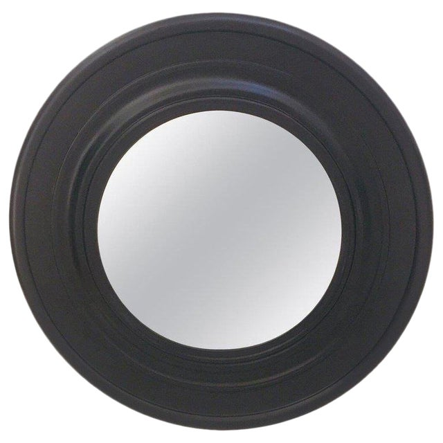 Large Round Black Painted Mirror For Sale