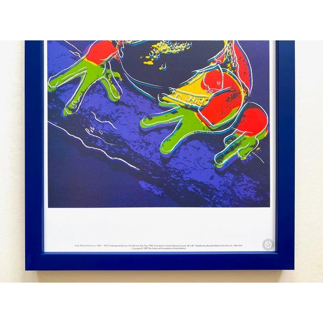 "Contemporary Andy Warhol Estate Vintage 1989 Endangered Species Framed Lithograph Print "" Pine Barrens Tree Frog "" 1983 For Sale - Image 3 of 13"