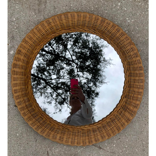 Vintage Natural Wicker Round Circle Mirror - Image 6 of 7