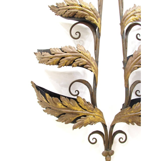 Traditional Wrought Iron and Gilt Garden Wall Hanging For Sale - Image 3 of 11