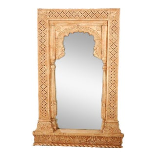 Anglo Indian Hand-Carved Wood Moorish Arched Mirror For Sale