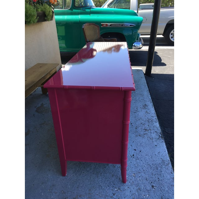 Faux Bamboo High Gloss Pink Dresser For Sale In Tampa - Image 6 of 7