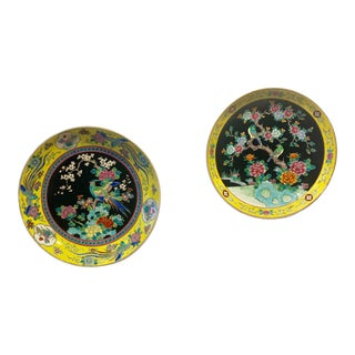 Vintage Asian Chinoiserie Hand Painted Decorative Plates - a Pair For Sale