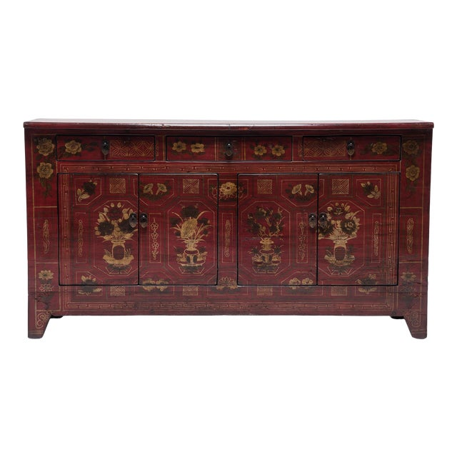 Mongolian Floral Painted Storage Chest For Sale