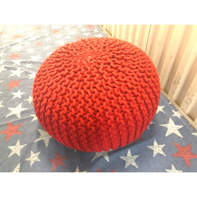 Fine Vintage Flame Red Retro Knitted Crochet Foot Stool Pouf Cjindustries Chair Design For Home Cjindustriesco