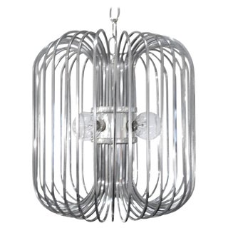 1960s Mid-Century Modern Sciolari Chrome Birdcage Chandelier For Sale