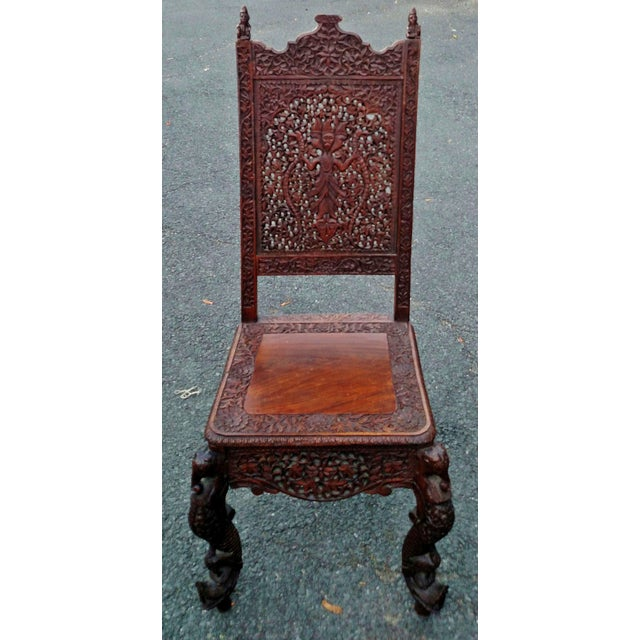 Asian 19th C Figural Carved Wood Burmese Chair - Image 2 of 10