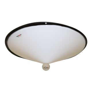 Gianni Rigo for Murano Due White and Crystal Mid-Century Modern Murano Glass Ceiling Lamp For Sale