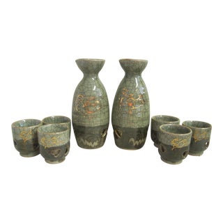 1970s Japanese Sake Service - Set of 8 For Sale