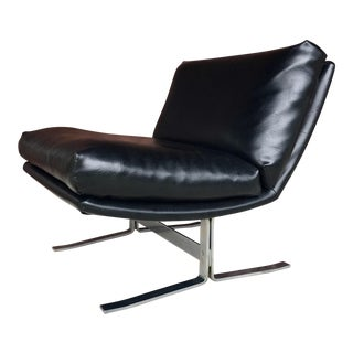1970s Adrian Pearsall for Craft Associates Black and Chrome Cantilever Lounge Chair For Sale