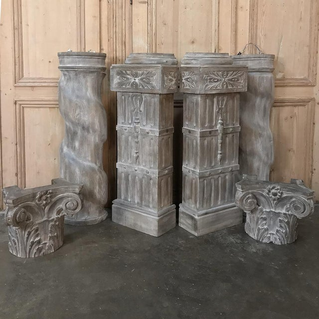 Pair French Architectural Corinthian Weathered Oak Hand Carved Columns, Ca. 1890s For Sale - Image 9 of 13