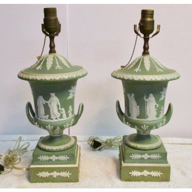 Wedgewood Jasperware Urns Mounted as Lamps - a Pair For Sale - Image 10 of 10