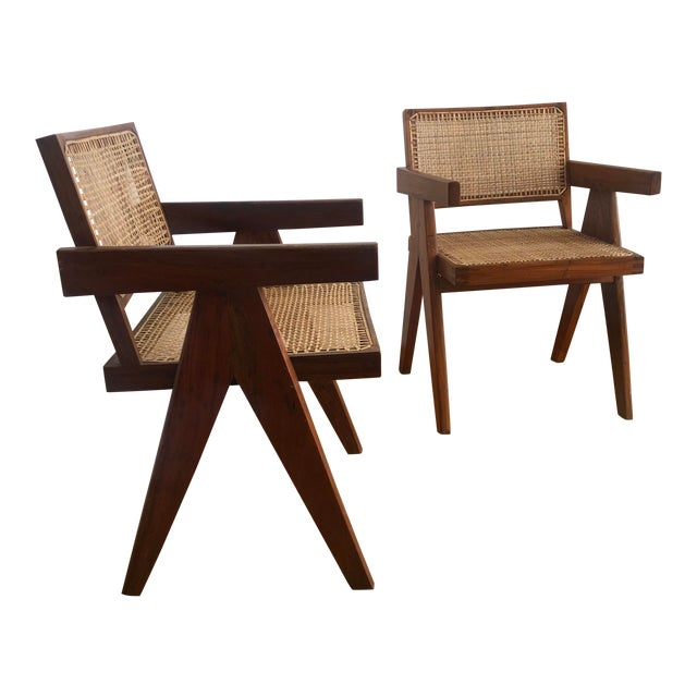 Pierre Jeanneret Caned Armchairs - a Pair For Sale