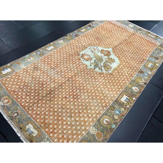 Orange Floral Antique Rug - 3′10″ × 7′1″ For Sale In Phoenix - Image 6 of 11